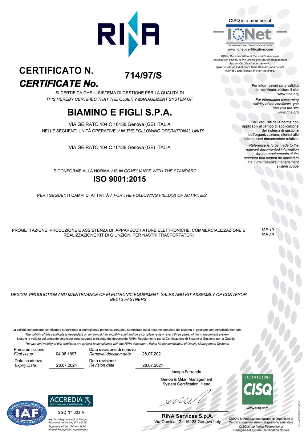 Certificato Qualità RINA 2024